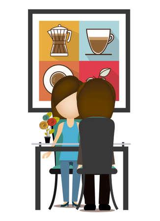 pareja comiendo: Diseño de la casa sobre el fondo blanco, ilustración vectorial