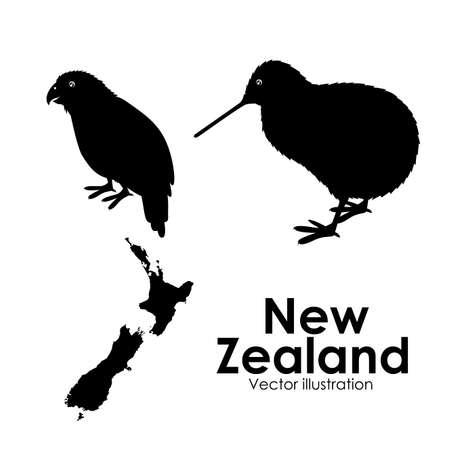 bandera de nueva zelanda: Diseño Nueva Zelanda sobre el fondo blanco, ilustración vectorial Vectores
