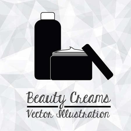 cremas faciales: Diseño cosméticos sobre fondo blanco ilustración vectorial