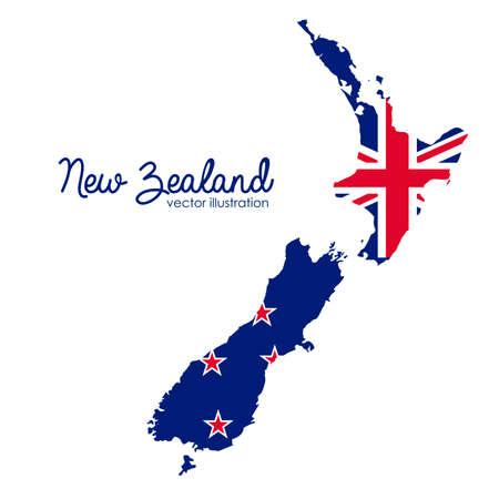 흰색 배경, 벡터 일러스트 레이 션을 통해 뉴질랜드 디자인 일러스트