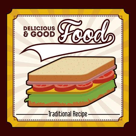 nutritive: Food design over brown background, vector illustration