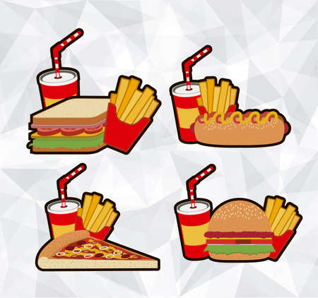 combo: Food design over brown background, vector illustration