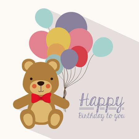 balloons teddy bear: Birthday design over white background, vector illustration