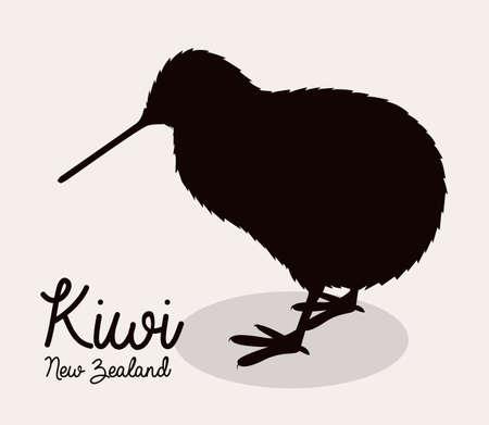Nieuw-Zeeland ontwerp over beige achtergrond, vector illustration Vector Illustratie