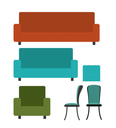 pieces of furniture: Funiture design over white background, vector illustration