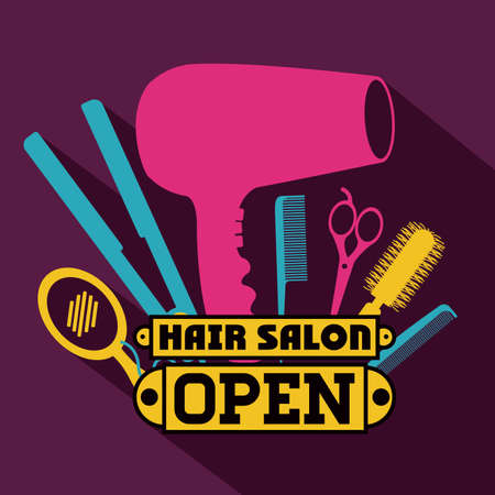 hair dryer: Hair salon over purple background,vector illustration