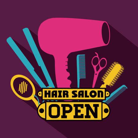 peluqueria: Peluquería sobre fondo morado, ilustración vectorial Vectores