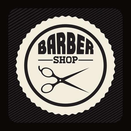 scissors hair: Barber shop design over black background, vector illustration Illustration