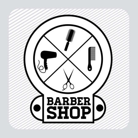 Barber shop design over gray background, vector illustration Vector
