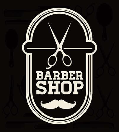 Barber shop design over black background, vector illustration Vector