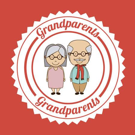 happy older couple: Grand parents design over red background, vector illustration