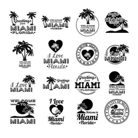Miami design over white background, vector illustration  イラスト・ベクター素材