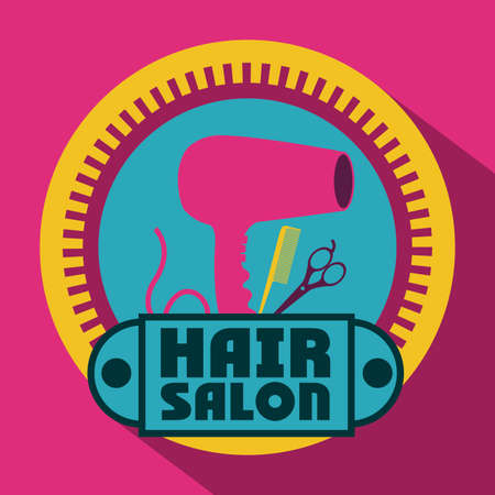 hair saloon: Hair saloon design over pink background, vector illustration