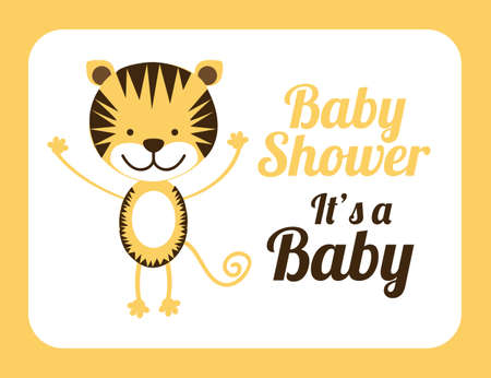teddy wreath: Baby shower design over yellow background, vector illustration Illustration