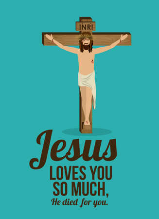 Jesuschrist design over blue background, vector illustration Vector