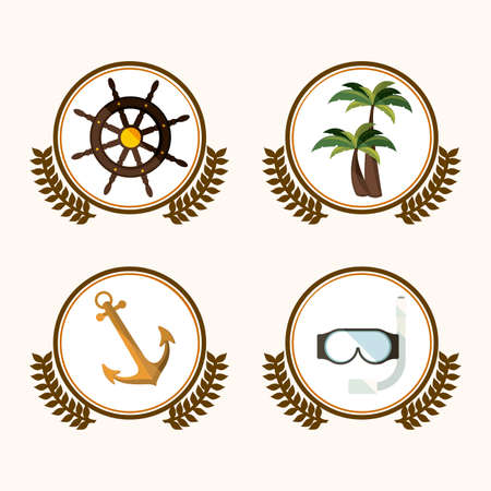 palm wreath: Summer design over white background, vector illustration Illustration