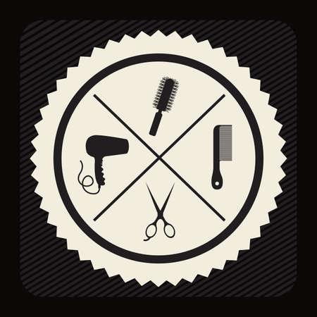 hair saloon: Hair saloon design over black background, vector illustration