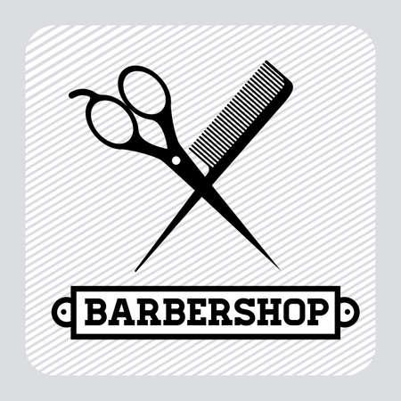 Barber shop design over gray background, vector illustration Vector