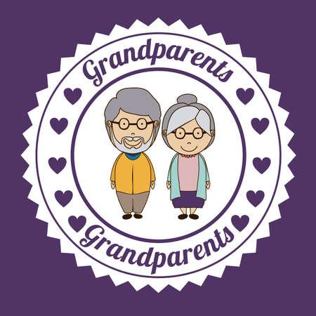 happy older couple: Grand parents design over purple background, vector illustration