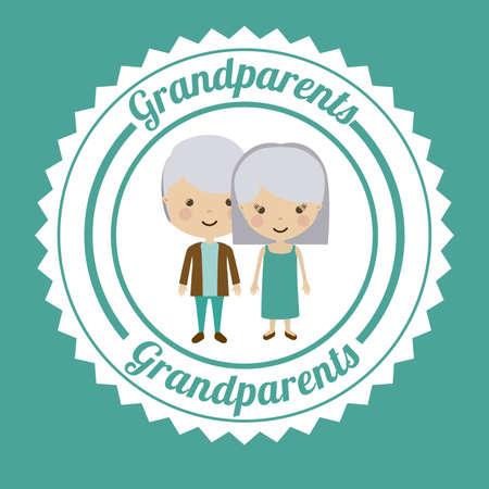 happy older couple: Grand parents design over blue background, vector illustration