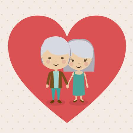 happy older couple: Grand parents design over beige background, vector illustration