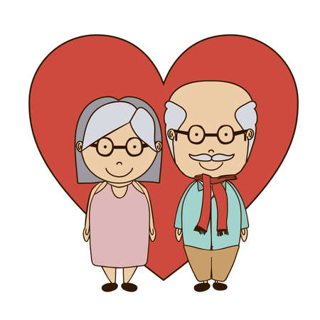 happy older couple: Grand parents design over white background, vector illustration