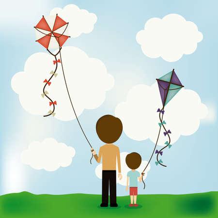 Kite design over landscape background, vector illustration Vector