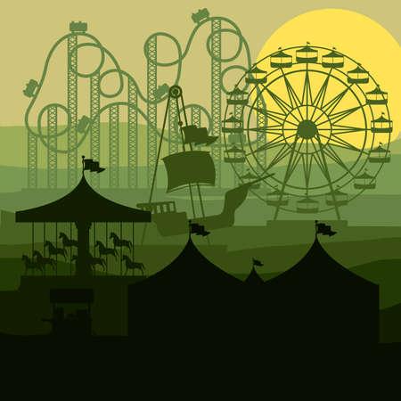 diversion: Diseño del parque temático sobre fondo de paisaje, ilustración vectorial Vectores