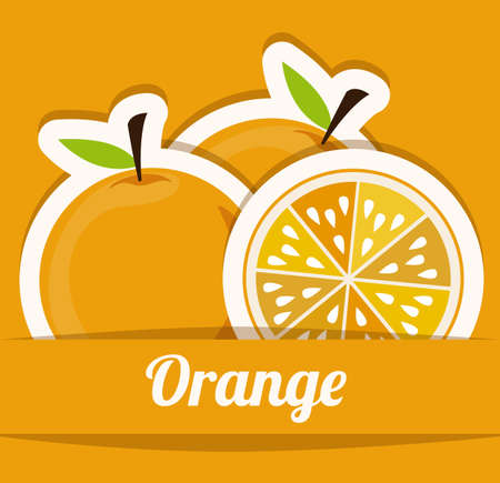 foodstuff: Fruits design over orange background, vector illustration