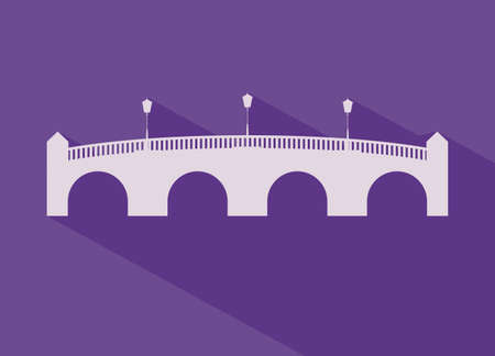 pont: Paris design over purple background, vector illustration