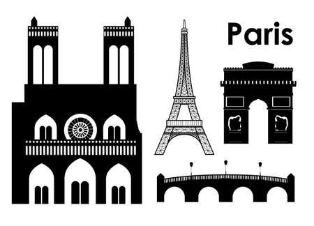 pont: Paris design over white background, vector illustration
