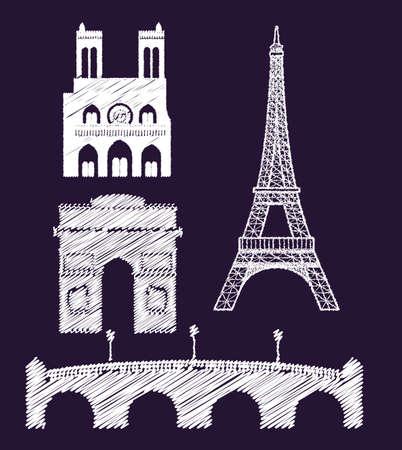 Paris design over purple background, vector illustration Vector