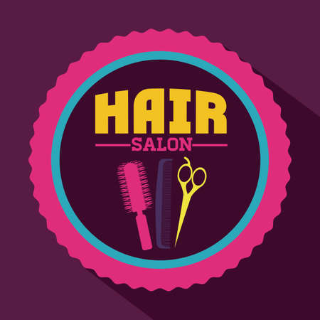 hair saloon: Hair saloon design over purple background, vector illustration