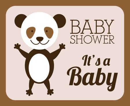 teddy wreath: Baby shower design over brown background, vector illustration