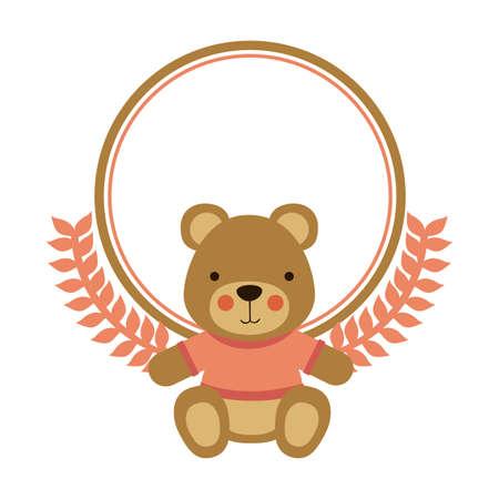 teddy wreath: Cute design over white background, vector illustration