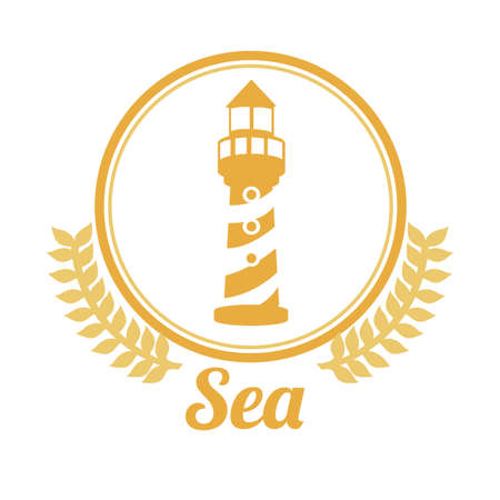navigational light: Sea design over white background, vector illustration