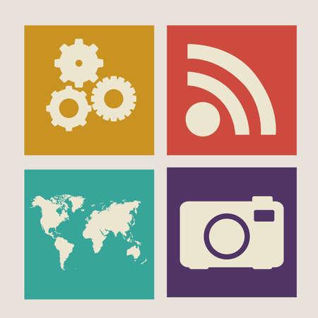 nternet: Technology design over beige background, vector illustration