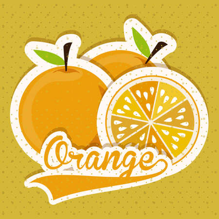 foodstuff: Fruits design over yellow background, vector illustration Illustration