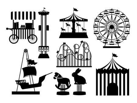 Themapark ontwerp op een witte achtergrond, vector illustratie