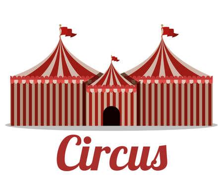 cirque: Progettazione Circo su sfondo bianco, illustrazione vettoriale