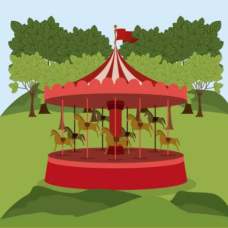 Theme park design over landscape background, vector illustration Illustration