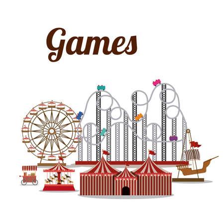Theme park design over white background, vector illustration Vector
