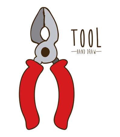 carpentry cartoon: Tools design over white background, vector illustration