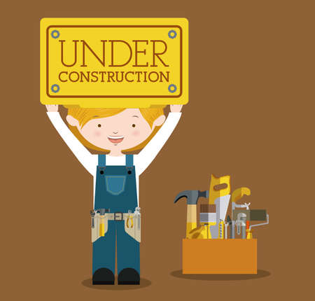Worker design over brown background, vector illustration Vector