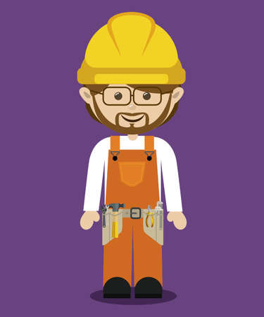 Worker design over purple background, vector illustration Vector