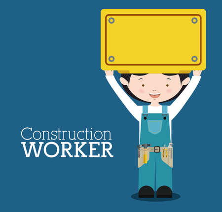 Worker design over blue background, vector illustration Vector