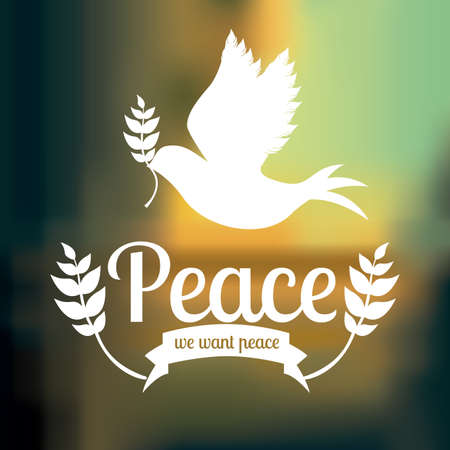 pacificist: Peace design over blue background,vector illustration