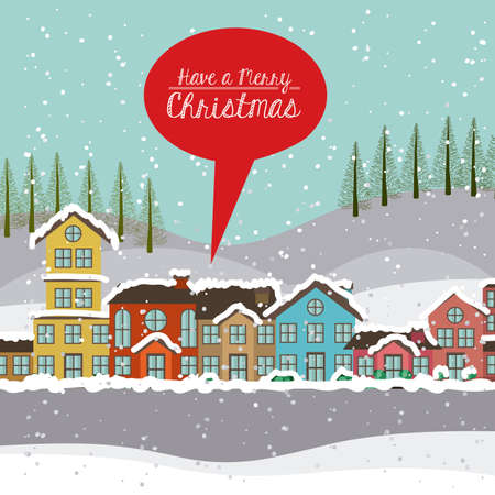 townscape: Christmas design over townscape background,vector illustration