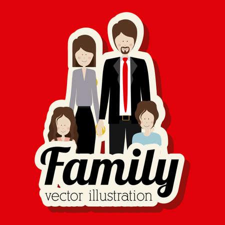 homelike: Family design over red background,vector illustration