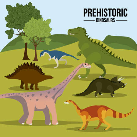 Dinosaur design over landscape background,vector illustration Vector